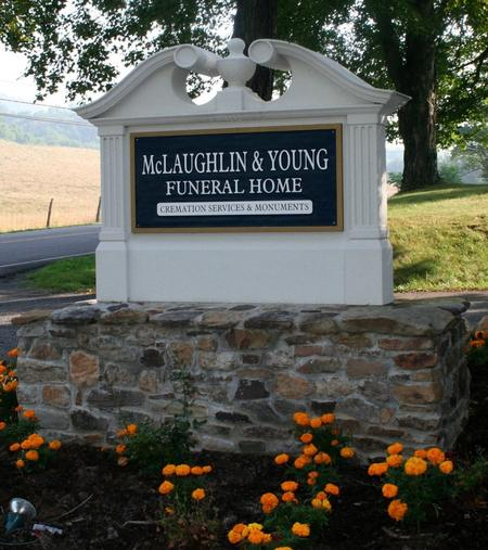 """Sign for """"McLaughlin & Young Funeral Home"""""""